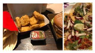 Street tacos ,McDonald's grand Mac and trying the Szechuan sauce mukbang (eating show )
