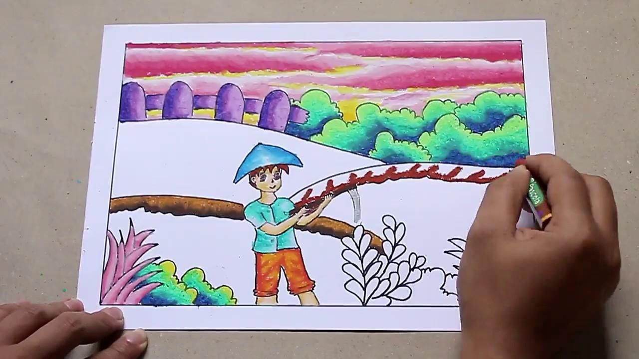 How To Draw Cara Menggambar Dan Mewarnai Dengan Tema Pak Tani Mencangkul Sawah Youtube