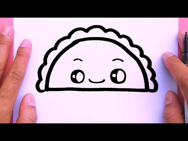 How to draw a cute taco step by step very easy, Draw Cute Things #1