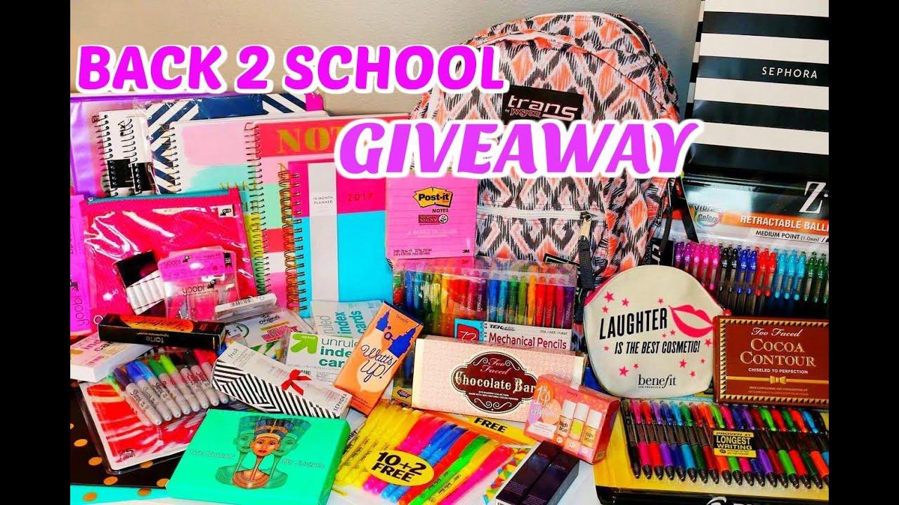 massive back to school giveaway school supplies makeup