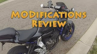 Yamaha FZ07 Update and Mod Review (at 8:30)