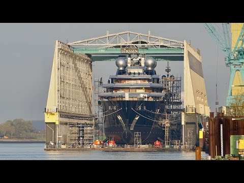 4K | Float Out of Explorer Yacht Project THUNDER - Lürssen shipyard