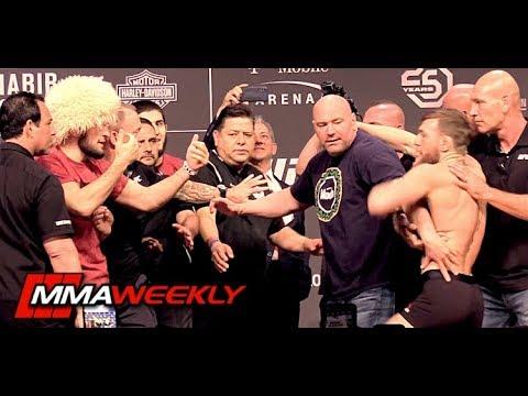 UFC 229 Khabib vs Conor McGregor Ceremonial Weigh-In Comes to Blows