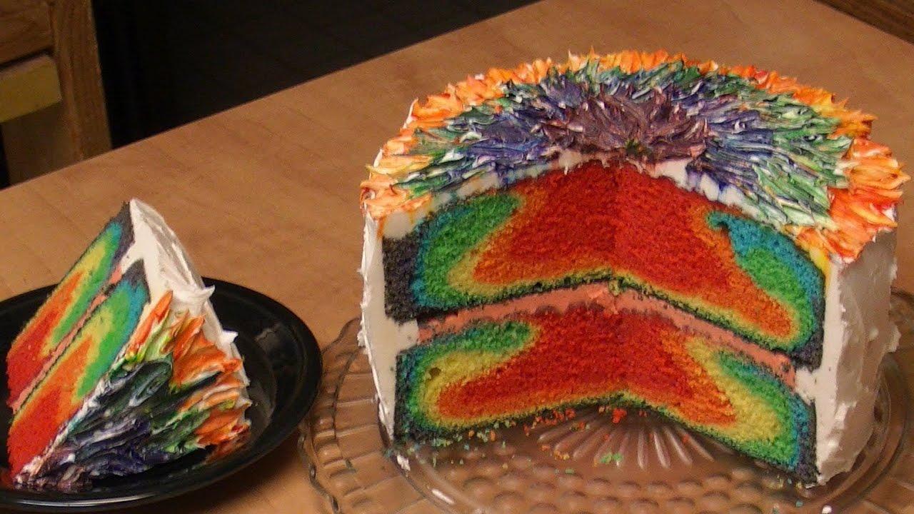 Rainbow Tie Dye Cake Recipe Youtube