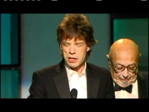 Ahmet Ertegun and Mick Jagger induct Jann Wenner Rock and Roll Hall of Fame inductions 2004