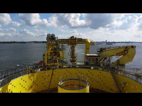 Cable laying vessel Ndurance departuring from Dordrecht to offshore project