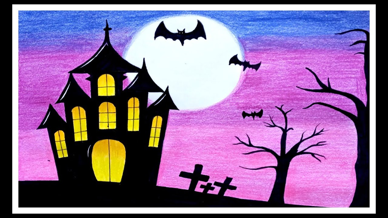 How to draw Halloween Scenery drawing with pencil colour | Haunted House drawing for Beginners