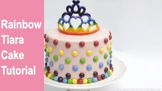 TIARA CROWN CAKE: How to make a edible rainbow tiara crown cake by Busi Christian-Iwuagwu