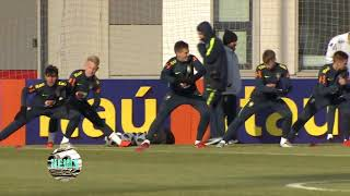 Football. Brazil held its first training session in Russia