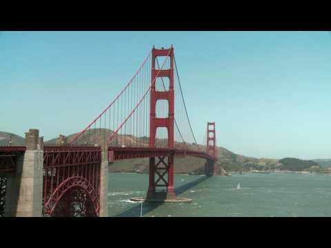 Golden Gate Bridge between San Francisco Bay and the Pacific Ocean