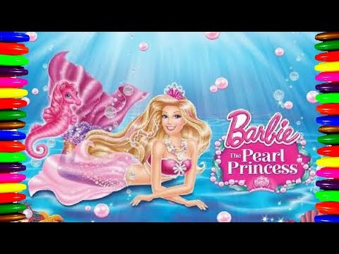 Disney Princess| How to draw and COlor| BARBIE PEARL PRINCESS Coloring pages| kids Learn Colors