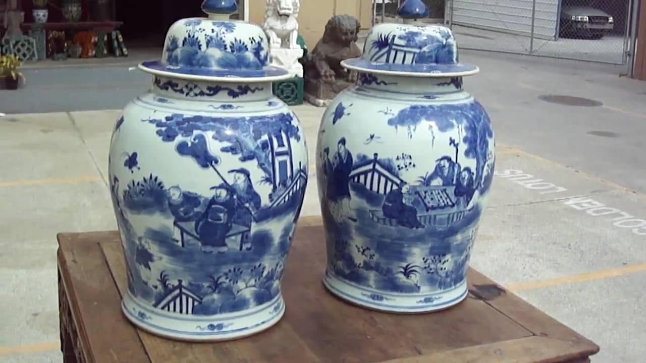 Blue Ginger Jar Part - 45: Pair Of Large Blue U0026 White Figures Painted General Jar / Ginger Jar W449 -  YouTube