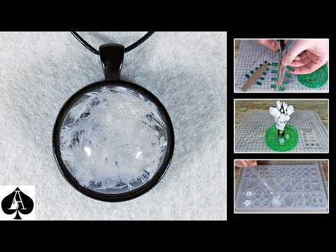 Casting Magic Growing Crystal Snow in Resin to Make a Pendant | Tutorial