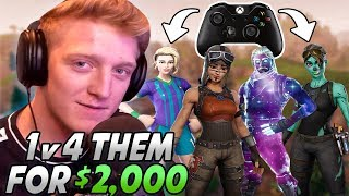 Tfue DESTROYS A Team Of CONSOLE PLAYERS In A 1v4 Who Bet Him $2,000 They Would WIN!