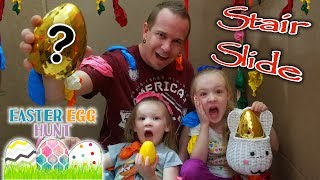 Ultimate Stair Slide Easter Egg Scavenger Hunt & Popping 1000 Balloons in HUGE Box Fort!!