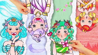 Fire Girl, Water Girl, Air Girl and Earth Girl / Four Elements Beauty HAIR - Stop Motion Paper