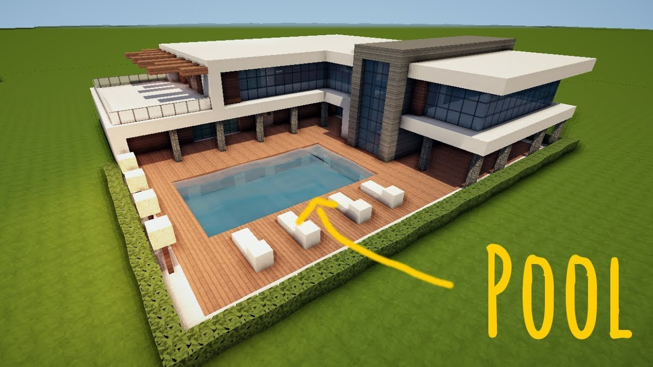 Gro es modernes minecraft haus mit pool bauen tutorial for Haus mit pool