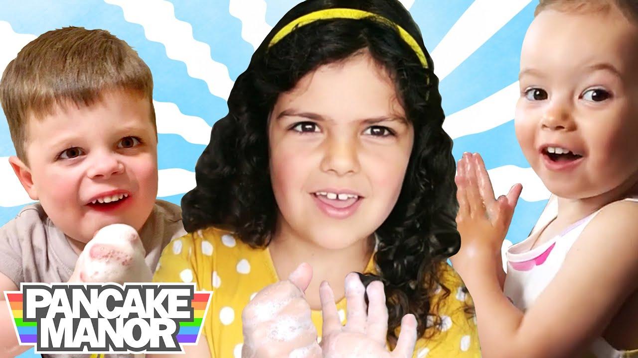 WASH YOUR HANDS, KIDS ♫  Hand Washing Song   Pancake Manor