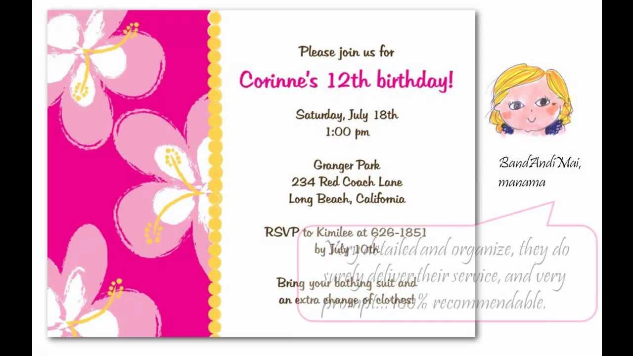 Breezy Luau Birthday Party Invitations For Summer Fun! - YouTube