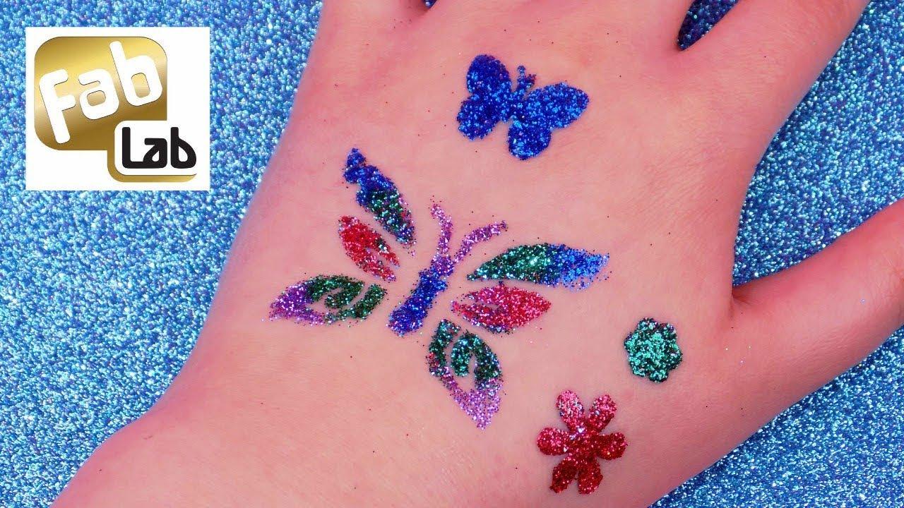 DIY Temporary Glitter Tattoos Tutorial ✨ How to do Fab Lab Glitter ...