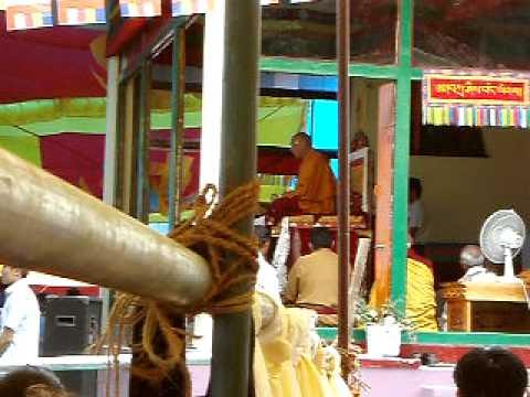Dalai Lama speaks at the Tibetan Monastery in Manali (India)