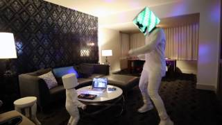 marshmello surprises 3 year old lethan who dressed like him for halloween