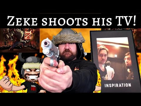Zeke shoots his TV!