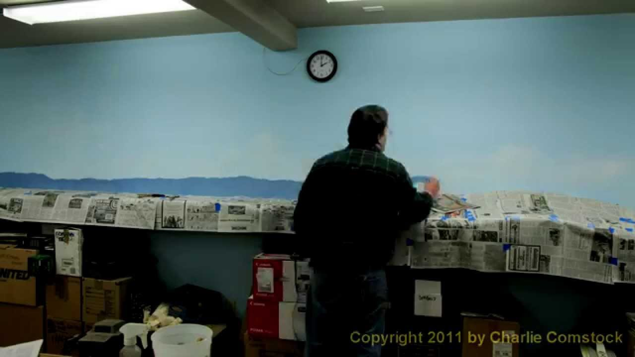 Painting a model railroad backdrop sky clouds and - Model railroad backdrops ...