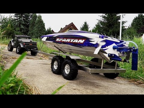 RC Boat Launch And Recovery. Jeep NuKizer 715, Traxxas Spartan, Custom Trailer, Vaterra Ascender