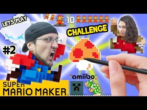 Lets Play SUPER MARIO MAKER! Dad vs. Mom 10 Mario Challenge & Brick Busting FGTEEV Fun