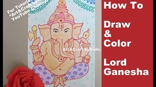 How To Draw Sketch and Color Lord Ganesha for Beginners & Kids