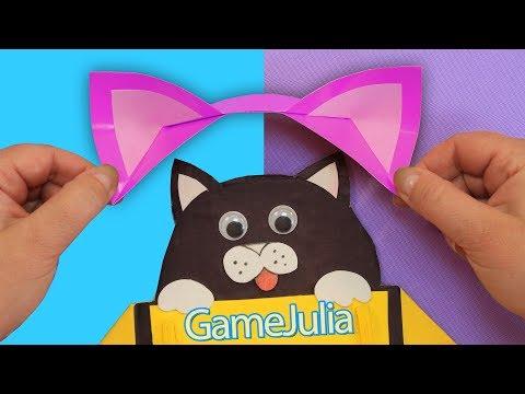 Как сделать ободок с ушками кошки из бумаги своими руками