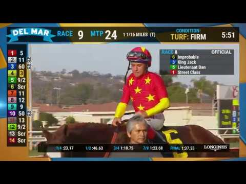 Improbable wins the Shared Belief Stakes (Race 8) at Del Mar 08/25/19