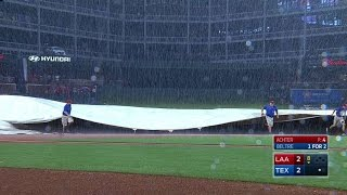 LAA@TEX: Game enters rain delay in the 8th inning