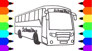 How to Draw School Bus - Coloring Pages for Children - Video for Kids