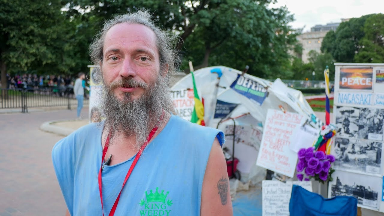 Homeless Man Volunteers at the White House Peace Vigil in Washington DC