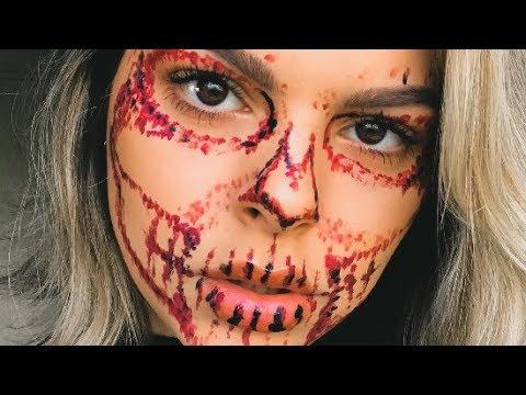 Bloody Skull Halloween Makeup Tutorial