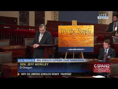 Merkley pulls all-nighter on Senate Floor as Gorsuch filibuster begins