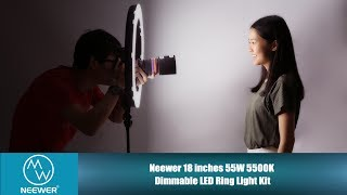 SET-UP INSTRUCTION| Neewer 18 inches 55W 5500K Dimmable LED Ring Light Kit
