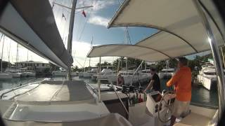 Docking a catamaran in a tight spot
