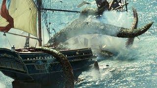 """Кракен топит корабль! - """"Пираты Карибского моря: Сундук мертвеца"""" отрывок из фильма"""