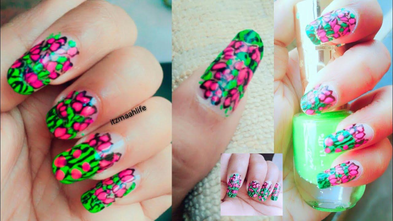 Pink Lotus nail design idea || cute pink green floral nail ...