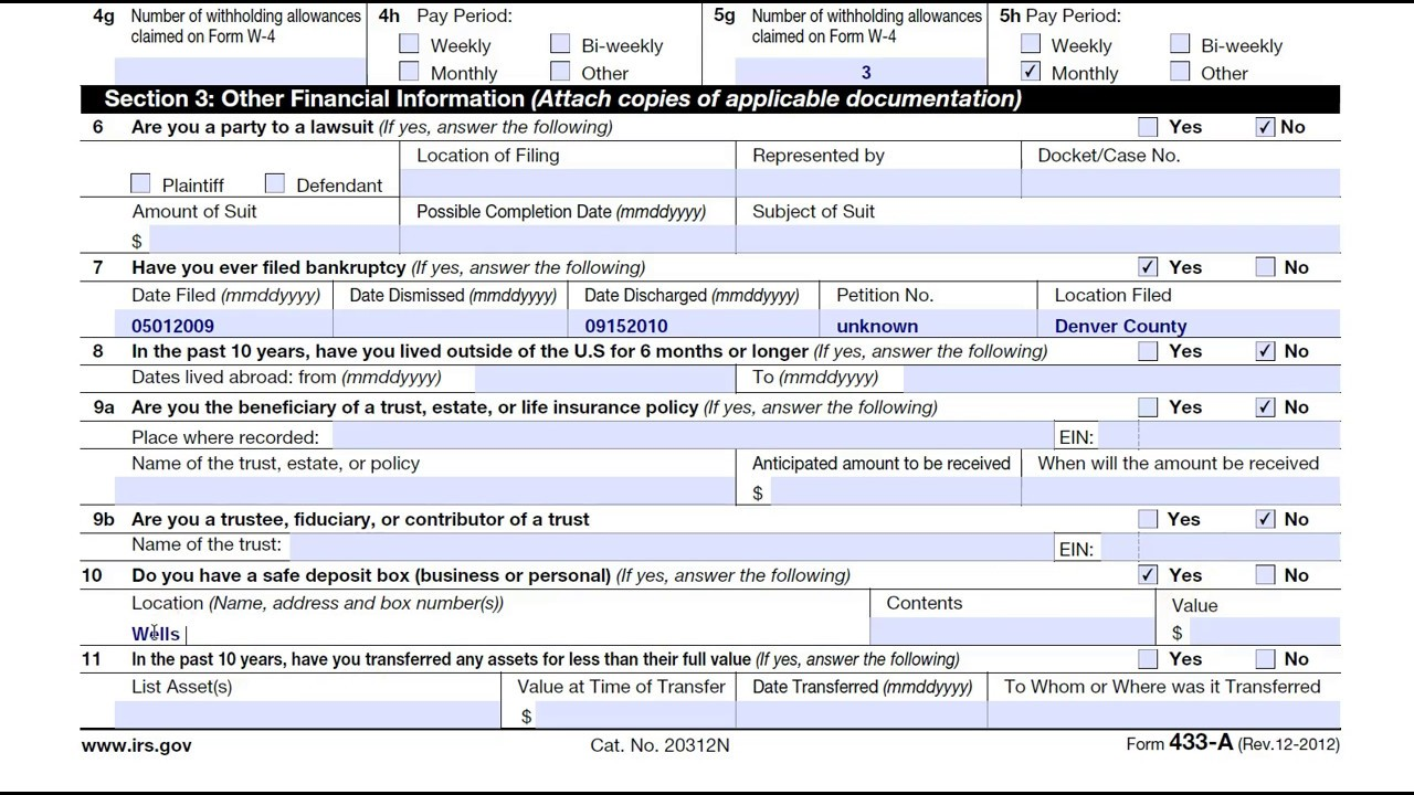 How to complete irs form 433 a collection information stmt for how to complete irs form 433 a collection information stmt for wage earnersself employed indiv falaconquin
