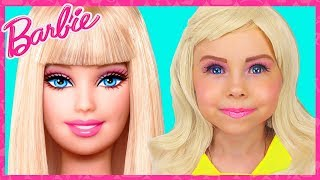 Barbie Doll Kids Makeup & Costume Alisa Pretend Play with GIANT DOLL & Transformation with DRESS UP