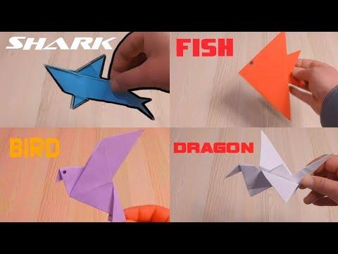 How to Make Paper SHARK,FISH,BIRD,DRAGON   Origami SHARK,FISH,BIRD,DRAGON   Paper Art and Craft