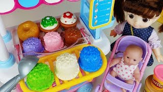 Baby doll and play doh cake Ice cream cart and surprise eggs toys play - 토이몽