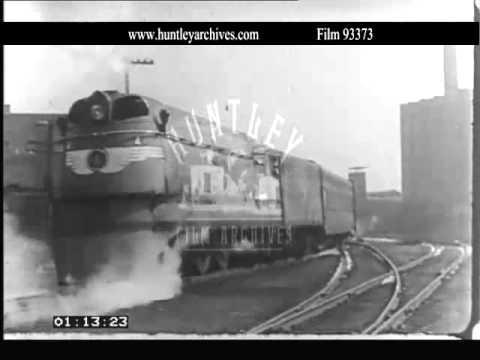 Hiawatha-type Atlantic 4-4-2 loco, Chicago, 1940's.  Archive film 93373