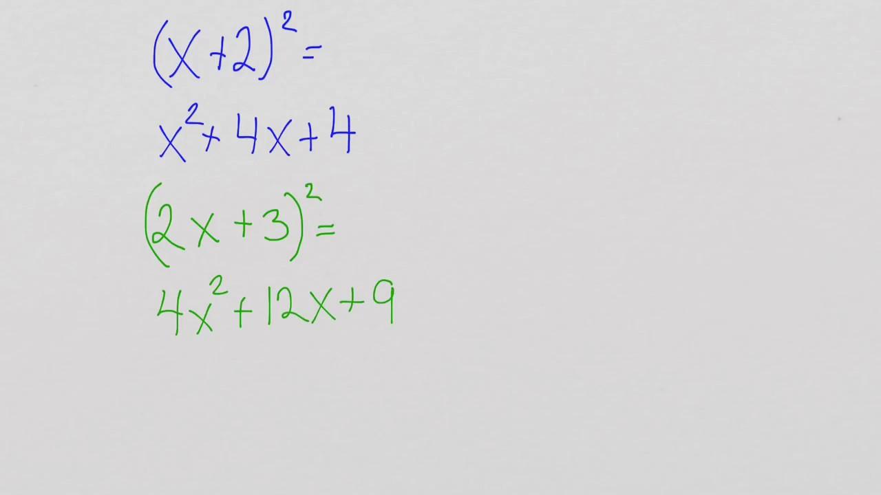 Første kvadratsetning - med eksempler