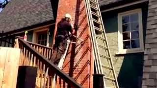 Cleaning Mortar Smears White Stains On Brick Chimney, Easy Technique