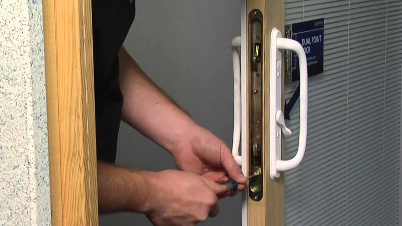 how to adjust the dual point latch on a premium wood sliding patio door